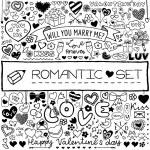 Doodle romantic set — Stock Vector #64779359