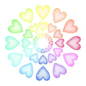 Handmålade akvarell hjärtan. — Stockfoto