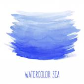 Hand painted watercolor sea. — Stock Vector