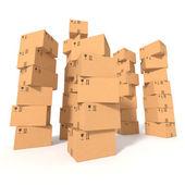 Hromádky kartonových krabic — Stock fotografie
