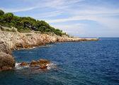 Deserted rocky coast cape Antibes — Stock Photo