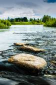 River Water Flowing Over The Rocks Of The Rapids — Stock Photo