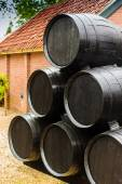 Pile Of Wooden Wine Barrels — Stock Photo