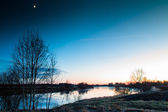 Moon And Sunset At The River — Stock Photo