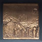 Noah Bronze Bas Relief - Florence Baptistery — Stock Photo
