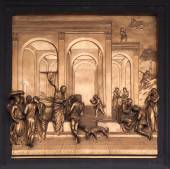 Isaac, Esau, Jacob Bronze Bas Relief - Florence Baptistery — Stock Photo