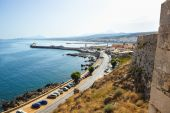 View of the city of Rethymnon with fortress Fortezza. Greece. Crete. — Stockfoto
