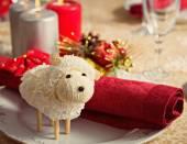 Ewe on New Year's table — Stock Photo