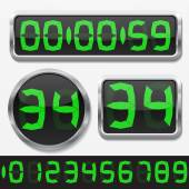 Digital numbers and basic clock body shapes set. — Stockvektor