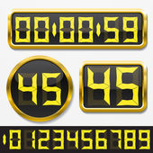 Digital numbers and basic clock body shapes set. — Vector de stock
