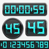 Digital numbers and basic clock body shapes set. — Stock vektor