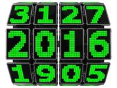 3d year counter mechanism with LCD screens — Stock Photo