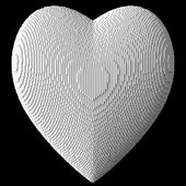 3d heart by white blocks — Stock Photo