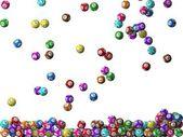 Lottery balls rain, filling screen.big balls version. — Stock Photo