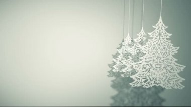 Swinging three Christmas trees paper decorations — Stock Video