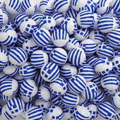Greece football balls (many). 3D render background — Stock Photo