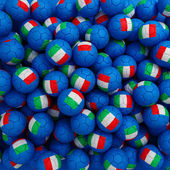 Italy football balls (many). 3D render background — Foto Stock