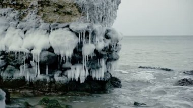 Dramatic frozen demolished forts ruins in Baltic sea, Liepaja, Latvia — Stock Video