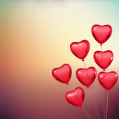 Valentine's card with heart shape balloons. Place for text — Stock Photo