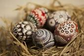 Easter eggs in hay nest — Stock Photo