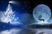Winter night with christmas tree and reindeer in the moonlight — Stock Photo