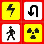Danger and warning icons set great for any use. Vector EPS10. — Stock Vector