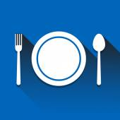 Plate with spoon, and fork icon great for any use. Vector EPS10. — Vector de stock