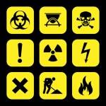 Symbols warning hazard icons set great for any use. Vector EPS10. — Stock Vector #63697761