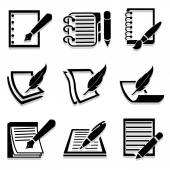 Writing icons set great for any use. Vector EPS10. — Stock Vector
