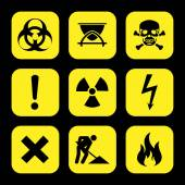 Symbols warning hazard icons set great for any use. Vector EPS10. — Wektor stockowy