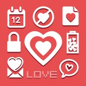 Valentine icons set great for any use. Vector EPS10. — ストックベクタ