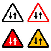 Two way traffic signs icons set great for any use. Vector EPS10. — Stock Vector
