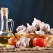 Garlic, sea salt, pepper, sunflower oil, bay leaf, onion and tom — Stock Photo #54617871