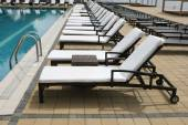 Beach chairs lined up in a row  — Stock fotografie