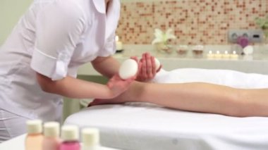 Woman Enjoying Stone Therapy. Female Receiving a Relaxing Massage Treatment — Vidéo
