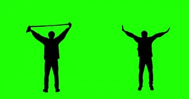 Cheering Fan on Green Screen. — Stock Video