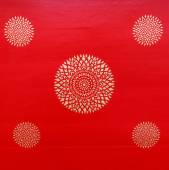 Ancient beautiful  gold flower painting on Thai temple red wall, — Stock Photo