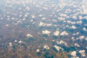 Aerial view of clouds and village — Stock Photo