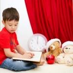 Cute boy reading a fairy tale. New Year — Stock Photo #59468419