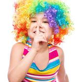 Girl in clown — Stock Photo