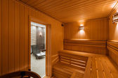 Interior of Finnish sauna, classic wooden sauna — Stock Photo