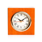 Old alarm clock on a white background — Stock Photo