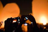 Flying Lanterns Selfie — Stock Photo