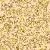 Bloemen en vogels naadloze structuurpatroon — Stockvector