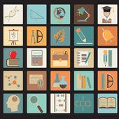 Education Flat Icon Set — Stock Vector