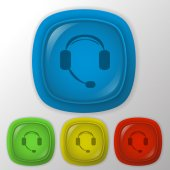 Customer support, headphone — Stock Vector