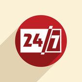 汉字 24 7 标志. — Stockvektor