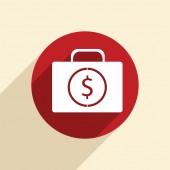 Suitcase with money icon — Stockvektor