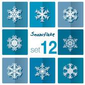 Snowflakes icon. Winter theme. — Stok Vektör