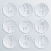 Chair icon set. symbol furniture — Vector de stock
